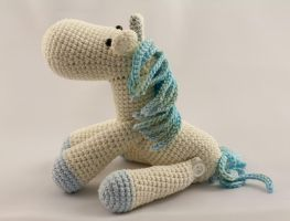 Little White and Blue Jointed Amigurumi Unicorn by karenscrochetcorner