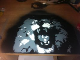 lion multilayer stencils black and white by sisma21