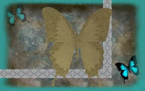 Butterflies Brown N Turquoise by kabegami