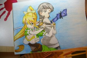 Suguha and Leafa- Sword Art Online by SorinDrawings
