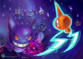 Gengar vs Rotom - Speed Paint by mmishee