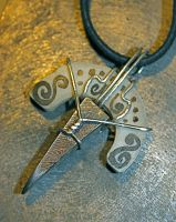 Antler and Damascus Pendant 2 by Twinflame-Studios