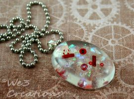 Fun Red and White Bead Pendant by kelleejm1