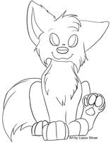 Free Chibi Wolf Lineart by LupusSilvae