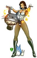 Zatanna and Totoro by artofJEPROX