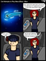 Cat Attempts to Play Mass Effect - Blue by GohokeKitty