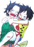 Luffy rides Ace by NarutoUchiha666