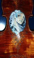 Hand Painted and carved Violin fantasy Design III by Hollow-Moon-Art