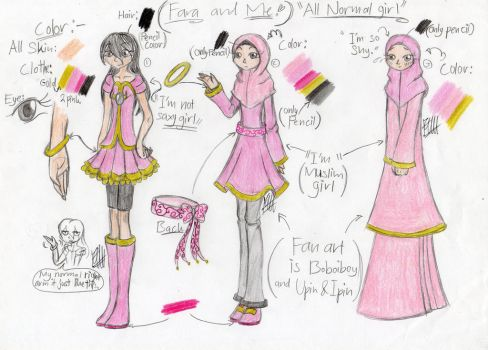 My firsh OC and Me - Ref Sheet by farahin001