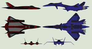 F-12E Knight Hawk VS FFR-31AS Lunar Sylphid by Zhanrae30