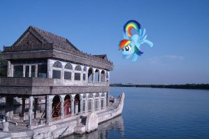 Rainbow Dash beside the Marble Boat by laopokia