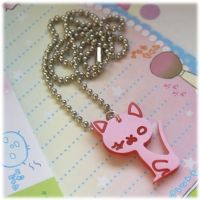 Shimmering Pink Kitty Necklace by Keito-San
