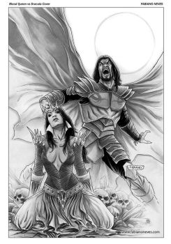 Blood Queen vs Dracula Cover 01 inks by FabianoNeves