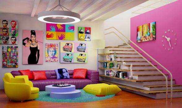 Pop art interior 2 by Ultrarender