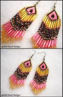 Gold, Pink and Black Earrings by Natalie526