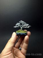 Upright wire bonsai tree sculpture by Ken To by KenToArt