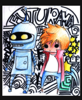 Futurama: Bender and Fry WIP by theREDspy