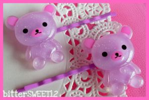 Sparkling Teddy Bear Bobby Pin by bitterSWEETones