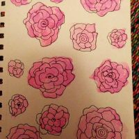 Watercolour roses by YoungWonderlandChild