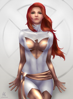 Marvel Pinups: White Phoenix by raikoart