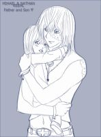 Mello and his child - Sketch by Hatake-Flor