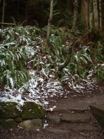 snowy rock stairs by JensStockCollection