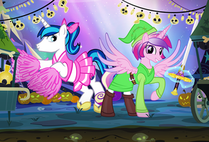 Nightmare Night 2015 Shining and Cadence by PixelKitties