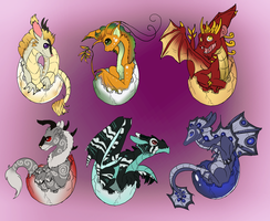 Adoptable Dragon Hatchlings (CLOSED) by jeweledphoenix