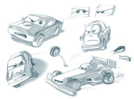 Pixar Cars 2 - Sketches by Lizkay