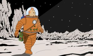Tintin on the moon Wallpaper by simonking1
