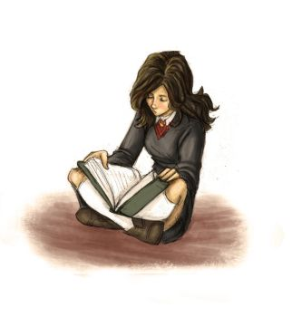 Hermione Reading by Catching-Smoke