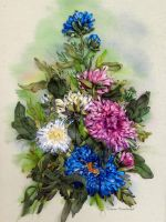 Asters, hand embroidered by TetianaKorobeinyk