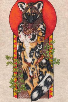 African Dog Pin-up Final by stephanielynn