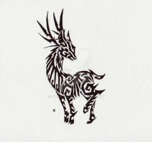 Stag Tribal Tattoo by Skrayle
