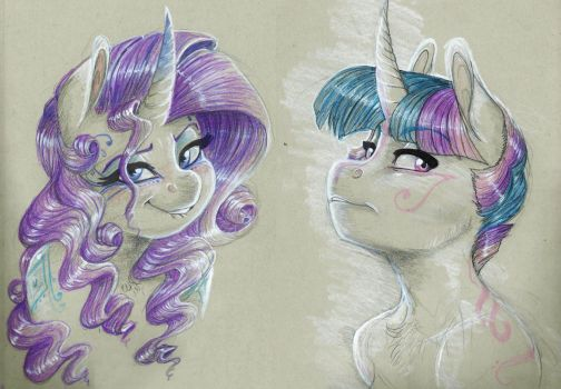 Doodle- Twilight and Rarity by Earthsong9405