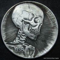 Skeleton Coin Carving by Shaun Hughes by shaun750