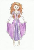Merida in Rapunzel's dress by Xijalle