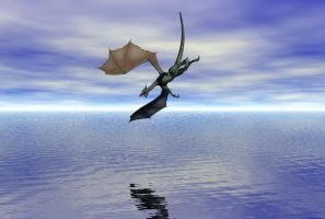 Dragon Over Fake Ocean by trebory6