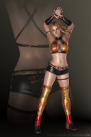 DOA5 - Tina Armstrong - Wrestling (gold) by Sterrennacht