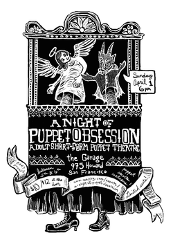 Puppet Obsession flyer by tinkerpaws