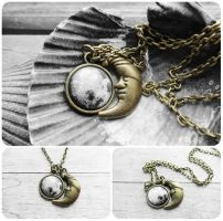 Handmade Resin Moon Design Antique Bronze Necklace by crystaland