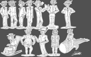 Mark twain figures by PickledAlice