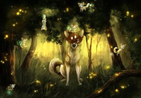 Fireflies(+ speedpaint) by LiaBorderCollie