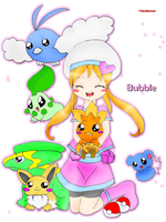 Bubble and her pokemon by Chimihara45