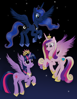Three Alicorn Princesses by DeannaPhantom13