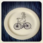 girl on bicycle plate by polpolina
