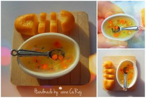 Real homemade soup and sliced bread by SweetIva