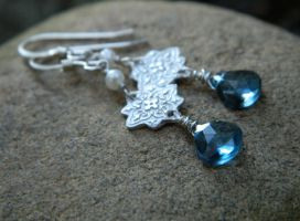 Starlight London Blue Topaz, Silver, and Pearl by QuintessentialArts