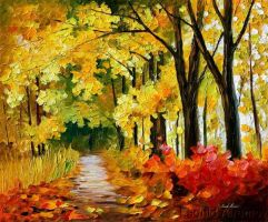 Fall Park by Leonid Afremov by Leonidafremov