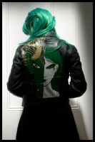 Green Dragon Leather Painted Jacket show I by wraithwitch